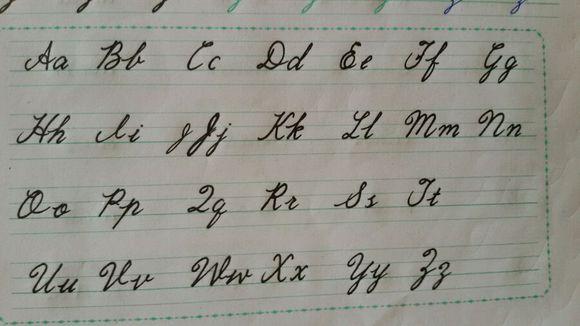 26個英文字母表花體書寫圖片
