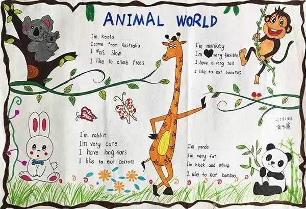 animal world英语手抄报-二年级小学生作品图片