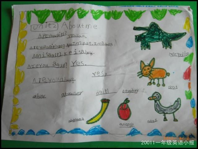 简单一年级英语手抄报图片大全图片