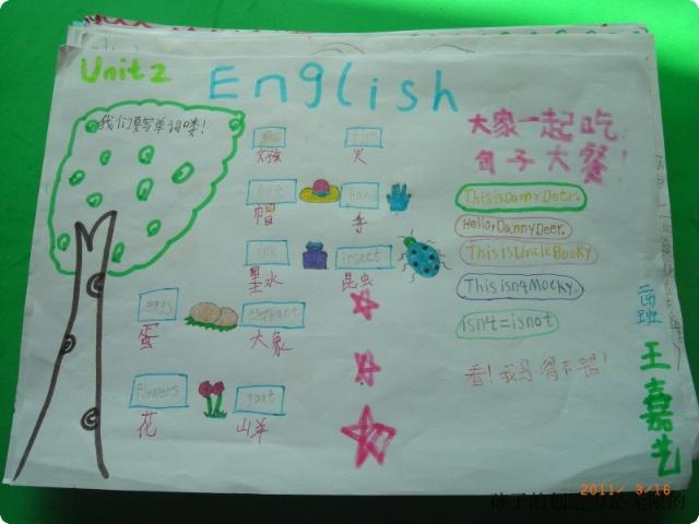 非常简单的二年级小学生原创英语手抄报图片