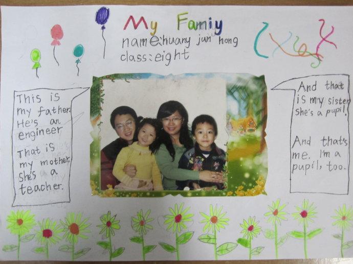 二年级小学生my family 英语手抄报