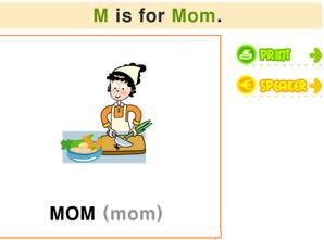 26個字母學習_M字母書寫/發音/涂色及單詞